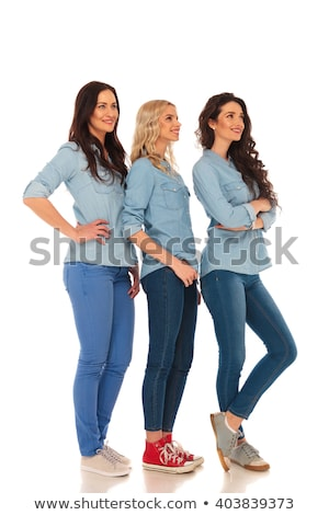 full body picture of three young casual women Stock photo © feedough