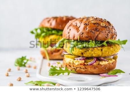 Vegan Burger pişirme sarımsak vejetaryen Stok fotoğraf © M-studio