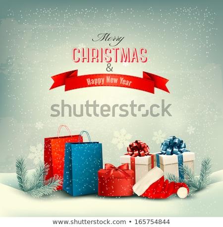 Foto stock: Caja · de · regalo · bolsa · nieve · invierno · forestales · ilustración