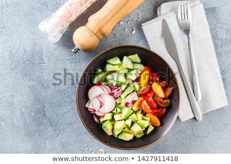 Gezonde vegetarisch salade diner tomaat kok Stockfoto © M-studio