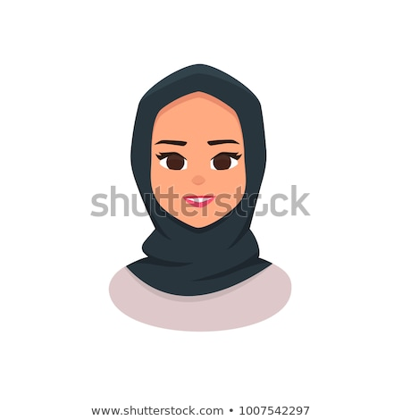 Beautiful young happy muslim woman in hijab vector flat icon ava stock photo © NikoDzhi