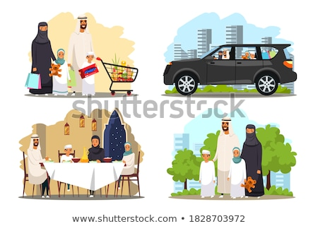 Vector illustration arabian man, woman and children shopping fla Stock photo © NikoDzhi