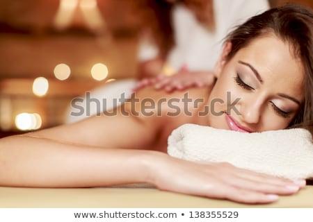 cute · vrouw · massage · ontspannen · wellness · spa - stockfoto © NikoDzhi