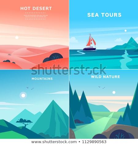 Stock photo: Scene vector set with ocean, sand dunes and hills