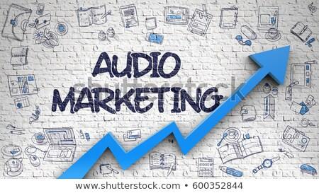 audio marketing drawn on white brickwall stock photo © tashatuvango