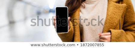 mosolyog · üzletasszony · elektronikus · tabletta · kívül · nő - stock fotó © deandrobot