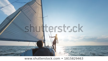 liefhebbend · paar · zeilboot · twee · gelukkig · liefhebbers - stockfoto © is2