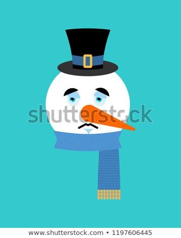 Сток-фото: Snowman Sad Emotion Avatar Snowman Sorrowful Emoji Face New Ye