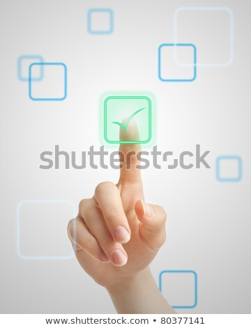 Stock photo: Hand Touching Check In Button.