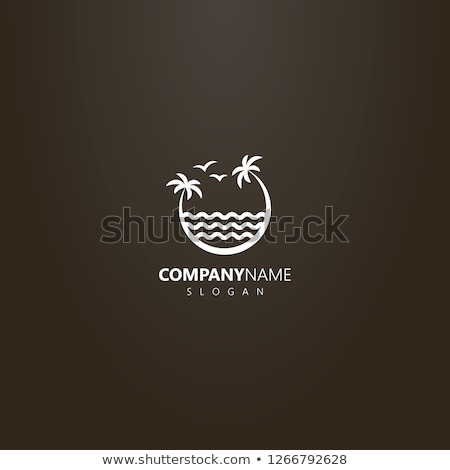 palm tree two seagulls and wave stock photo © orensila