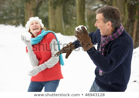 冬 · 楽しい · カップル · 雪玉 · 戦う - ストックフォト © is2