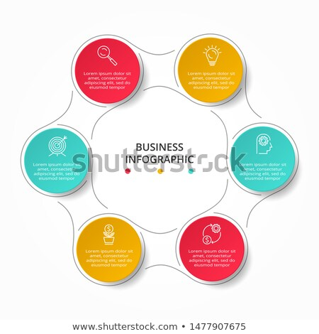 Vector business strategy infographic template with thin line chess figures Stock photo © orson