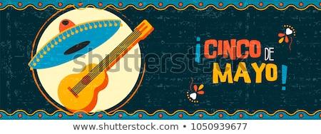 mexikói · gitár · játszik · sivatag · kaktusz · növények - stock fotó © bluering