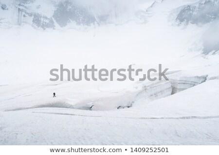 Avontuur toeristische bergen sneeuw muur toeristen Stockfoto © Kotenko