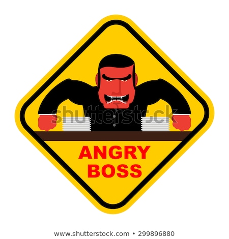 Danger angry boss. Aggressive head screams. Red businessman at t Stock photo © popaukropa