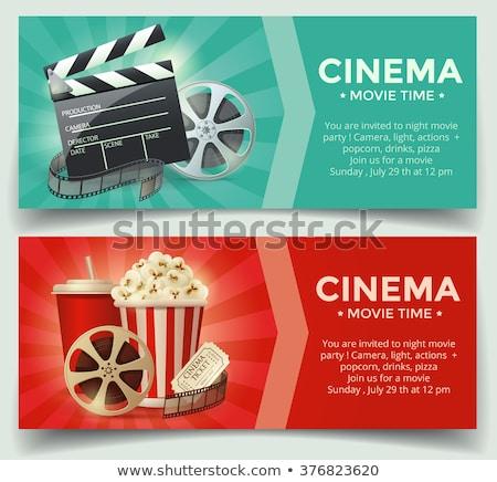 színes · sablon · mozi · jegyek · kettő · irányítás - stock fotó © studioworkstock