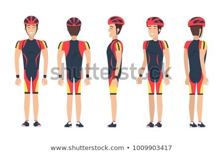 happy biker in special suit vector illustration stock photo © robuart