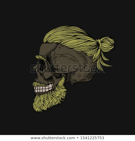 Poster of vintage skull hipster label for t-shirt print Stock photo © FoxysGraphic