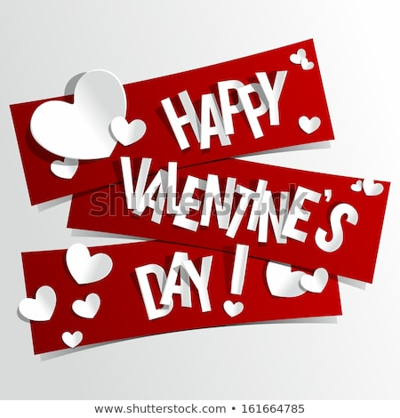happy valentines day design with heart on shiny red background vector wedding and love theme illust stock photo © articular