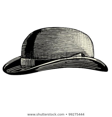 şapka top atan oyuncu yalıtılmış siyah bağbozumu iş Stok fotoğraf © MaryValery