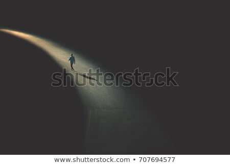 Solitude homme ville forme silhouette Night City Photo stock © Olena