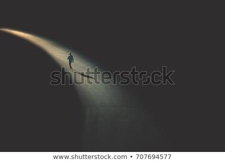 Solitudine uomo città forma silhouette Night City Foto d'archivio © Olena