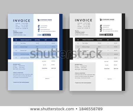 blue and gray professional invoice template design Stock photo © SArts