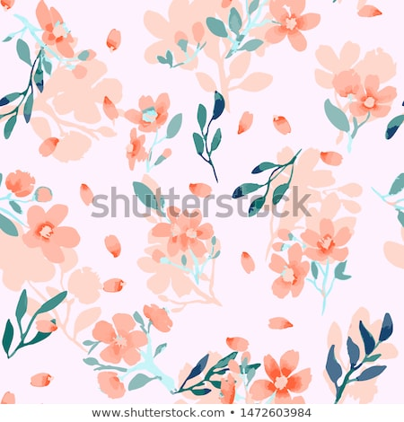 Stock photo: Floral seamless pattern. Hand drawn creative flowers. Colorful artistic background with blossom. Abs