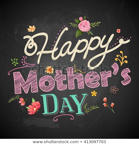 happy mothers day greeting card design with flower and typographic elements on red background i lov stock photo © articular