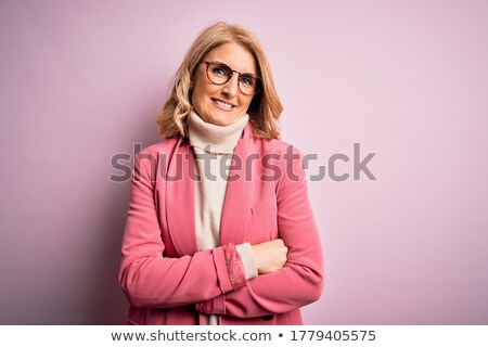 Pink jacket Middle woman woman success & positive Stock photo © toyotoyo