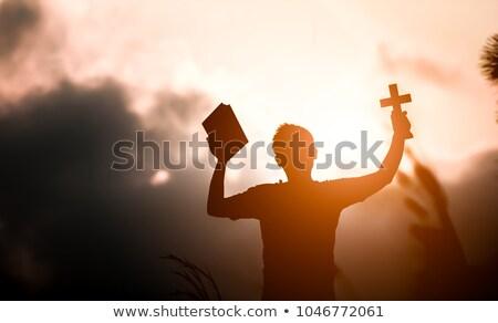 Mão manter bíblia ilustração padre Foto stock © lenm