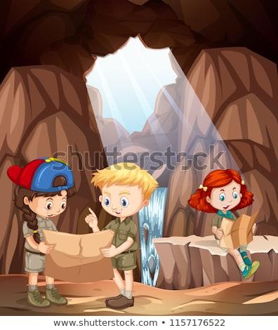 Foto stock: Caverna · cena · clarabóia · cachoeira · ilustração · água