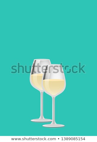 Drink Champagne Poster Two Wineglass Fizzy Drinks Stock photo © robuart