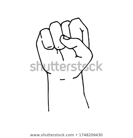 Fist linear style isolated. punch hand on white background Stock photo © popaukropa