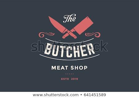 Logo hentes hús bolt séfek kések Stock fotó © MarySan