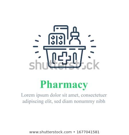 Apteki lek zestaw plakaty recepta pigułki Zdjęcia stock © robuart