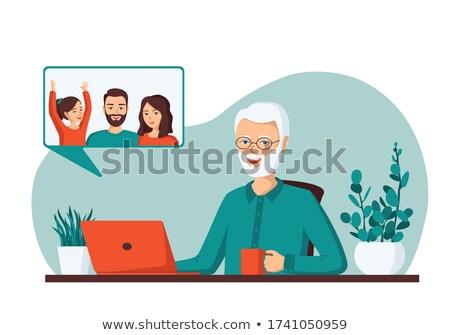 son calling   modern vector cartoon character illustration stock photo © decorwithme