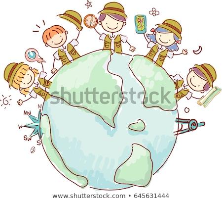 Gyerekek földrajz jelmezek illusztráció visel repülőgép Stock fotó © lenm