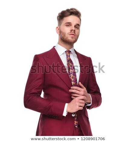 Portret dumny człowiek elegancki garnitur pierścień Zdjęcia stock © feedough