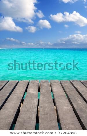 cancun · hout · pier · tropische · caribbean · zee - stockfoto © lunamarina