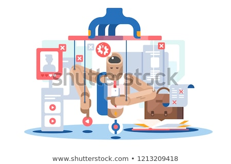 Internet dependent puppet wooden doll icon. Stock photo © jossdiim