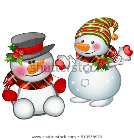 Two smiling snowman wearing a striped cap and tophat. Sketch for greeting card, festive poster or pa Stock photo © Lady-Luck