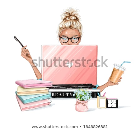 Businesswoman with hair bun and laptop Stock photo © Traimak