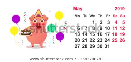 Takvim komik domuz doğum günü pastası vektör karikatür Stok fotoğraf © orensila