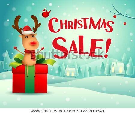 Noël · vente · rennes · s'asseoir · cadeau · présents - photo stock © ori-artiste