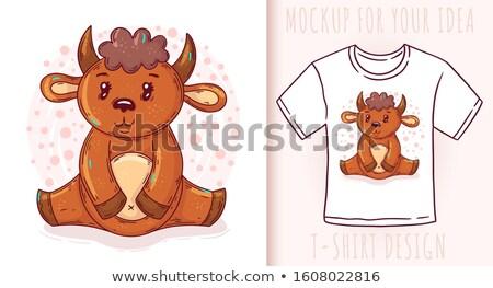Stock photo: Cartoon Buffalo Love