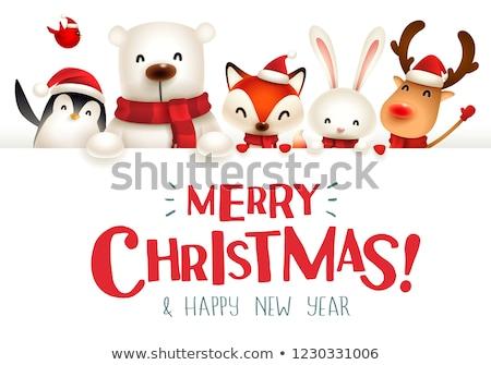 Merry Christmas! Happy Christmas companions with big signboard. Stock photo © ori-artiste