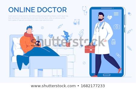 онлайн · консультация · баннер · медицинской - Сток-фото © genestro