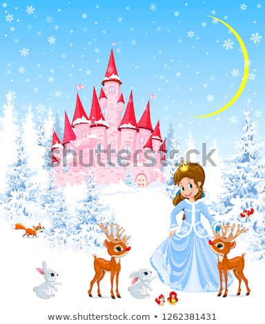 princess castle animals winter forest stock photo © liolle