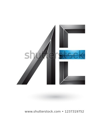 Black and Blue Glossy Dual Letters of A and E Vector Illustratio Stock photo © cidepix